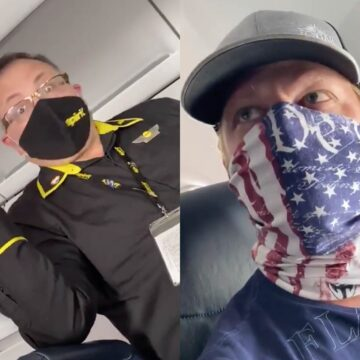 [VIDEO] Flight Attendant Loses it Over Passengers Patriot Mask – Threatens to Call the Cops