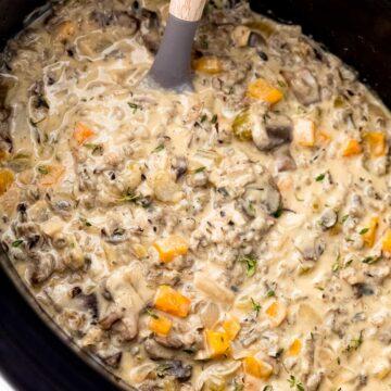 Slow Cooker Mushroom Wild Rice Soup