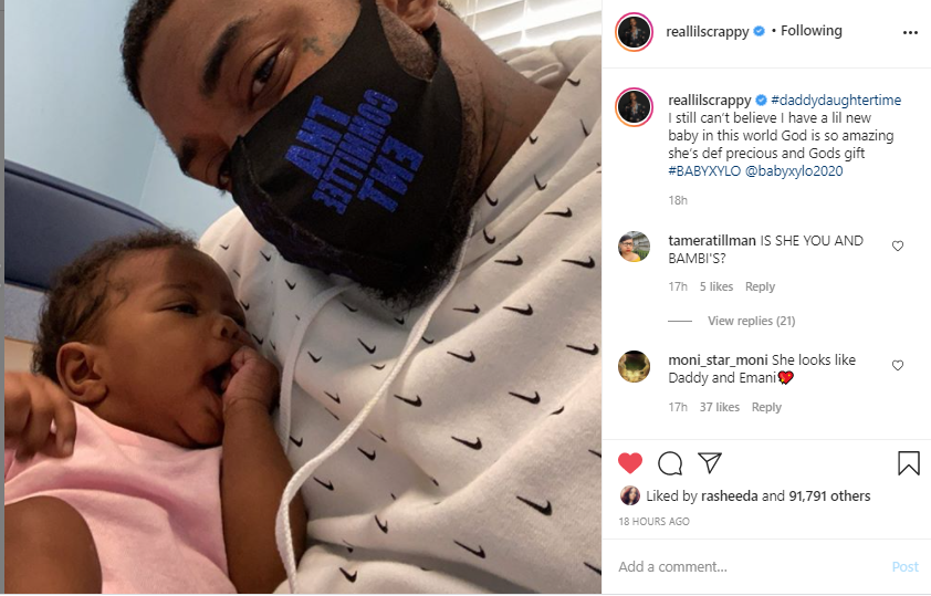 'That's Your Twin': Lil Scrappy Posts a Sweet Photo with His Infant Daughter, and Fans Claim She's His Mini-Me