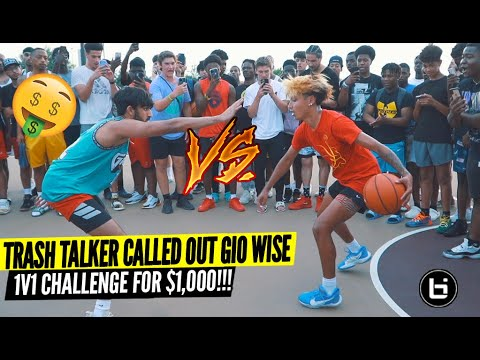 Trash Talker Challenged Gio Wise 1v1 For $1,000! Shut Down The Park!